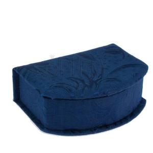Kék ékszerdoboz - anyaggal bevonva, fényes virágminta