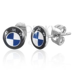 Kerek, bedugós fülbevaló acélból - világoskék BMW logó