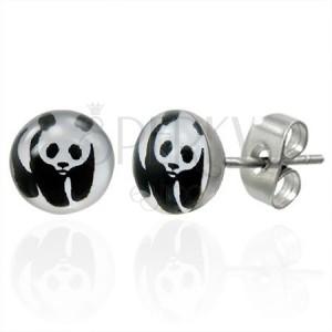 Fülbevaló nemesacélból panda macival