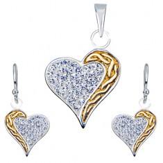 Fülbevaló és medál készlet 925 ezüstből - cirkóniák, arany színű sáv, szívek