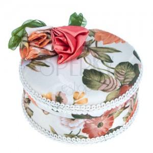 Kerek ékszerdoboz - textil bevonat masnival és rózsákkal