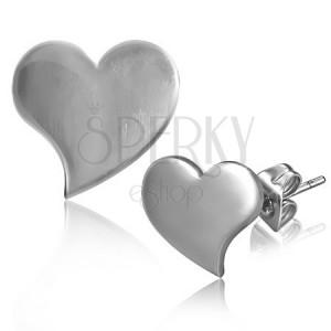 Fényes bedugós fülbevaló acélból - megnyúlt szív