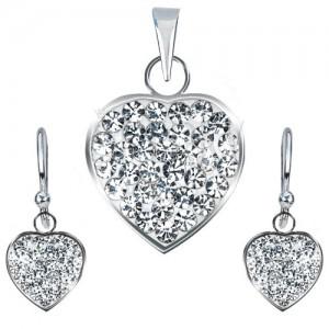 925 ezüst készlet - medál és fülbevaló, tiszta, csillogó szívecske
