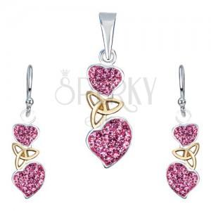 Ezüst készlet - fülbevaló és medál, rózsaszín szívek, kelta csomó
