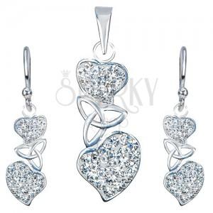 Ezüst készlet - medál és fülbevaló, tiszta szívek, kelta csomó