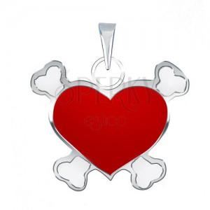 Medál 925 ezüstből piros színű kalóz szívvel