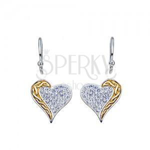 Függő fülbevaló ezüstből - cirkónia szív, csavart, arany színű sáv