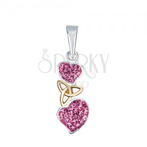 Ezüst medál - rózsaszín szívek kelta csomóval