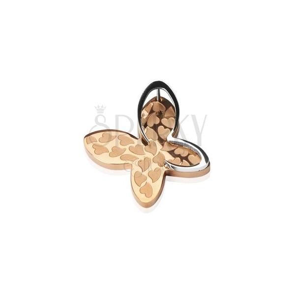 Sebészeti acél medál - pillangó forma, szív mintázatok
