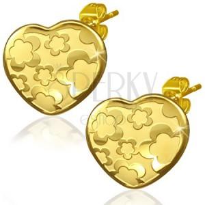 Arany színű szív fülbevaló acélból - virág motívum