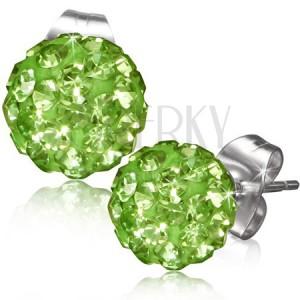 Zöld bedugós fülbevaló, golyó kövekkel