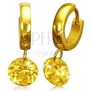 Karika fülbevaló arany színben acélból, cirkóniával