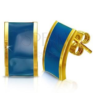 Acél fülbevaló - arany-kék színű téglalap