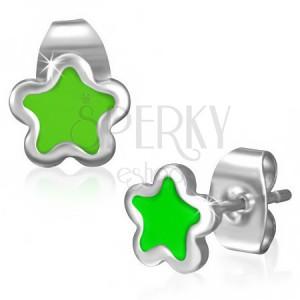 Nemesacél bedugós fülbevaló - apró csillag zöld színű fénymázzal