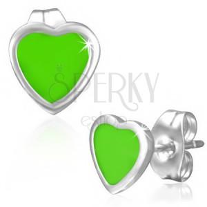 Zöld színű fülbevaló sebészeti acélból, zománcozott felület