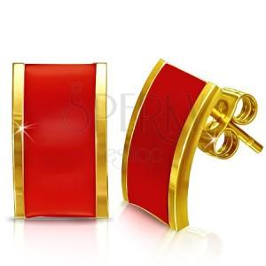 Nemesacél fülbevaló - arany-piros színű téglalap