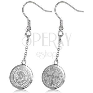 Ezüst színű fényes acél fülbevaló, ezüst színű kör, kereszttel és szenttel
