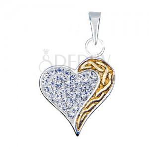 Medál 925 ezüstből cirkóniákkal és arany színű sávval