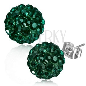 Smaragdzöld acél fülbevaló, kövekkel, bedugós