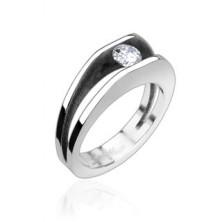 Acél gyűrű - 5 mm átmérőjű cirkónia kő