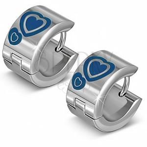 Fényes karika fülbevaló acélból, ezüst színű, kék szivek