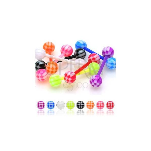 Hajlékony UV nyelv piercing - sakktábla golyócskák