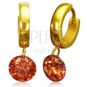 Arany színű fülbevaló, fényes karika nagy, narancssárga cirkóniával