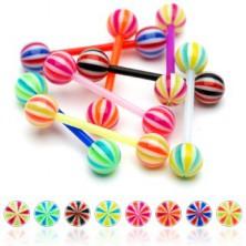 Hajlékony UV nyelv piercing - Candy golyócskák