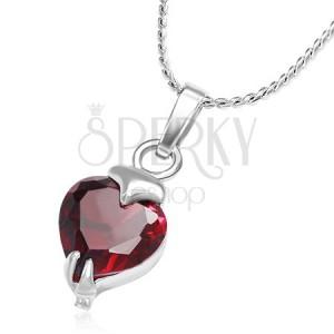Acél nyakék, piros, szív alakú cirkónia a láncon