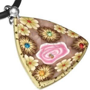 Bézs-barna FIMO nyaklánc, háromszög virágokkal és kövekkel