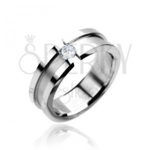 Gyűrű nemesacélból - matt sáv, fényes szegélyek, cirkónia