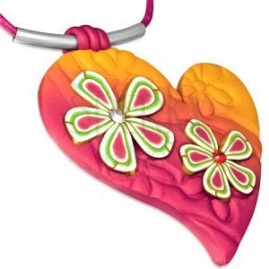 FIMO nyaklánc, rózsaszín-narancssárga szív virágokkal és cirkóniával