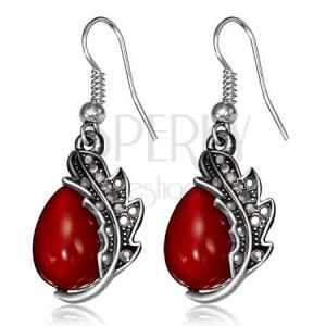Lógós fülbevaló - piros kő, patináns levél, horgok