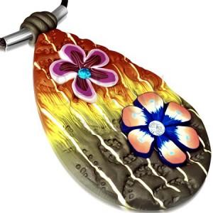 FIMO nyaklánc - sokszínű könnycsepp, virágok és cirkóniák