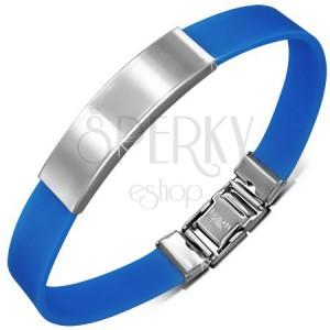 Kék színű gumi karkötő sima, ívelt acéltáblával
