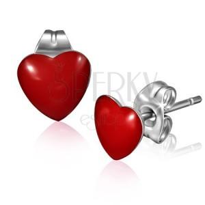 Bedugós fülbevaló sebészeti acélból - fényes piros szív