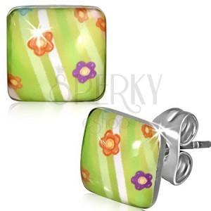 Négyzet alakú acél fülbevaló - zöld szín, színes virágok, csíkok