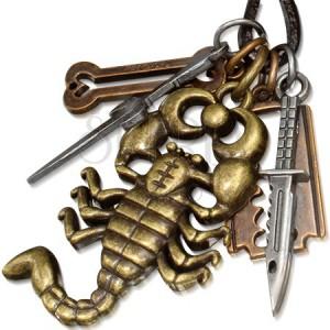 Nyaklánc zsinórral bőrből, fém medál, skorpió, kés