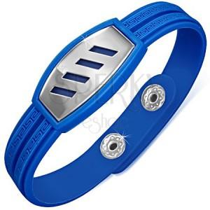Kék, gumi karkötő, görög kulcs, acél tábla