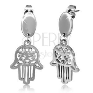 Acél Kabbalah fülbevaló - ovális ezüst színű Fatima kéz