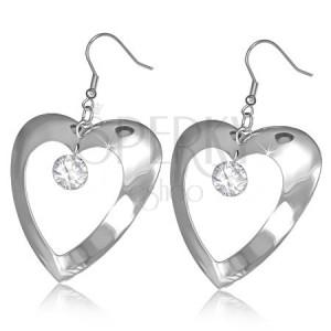 Fényes acél fülbevaló - vastag szív körvonal, tiszta cirkónia