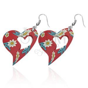 Piros fülbevaló kivágással, FIMO szív virágokkal