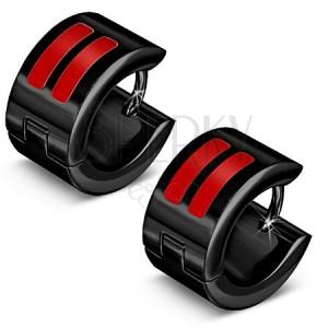 Fényes, fekete acélfülbevaló, piros, fénymázos csíkok