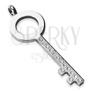 Acél medál - egyszerű kulcs, cirkónia köves felület