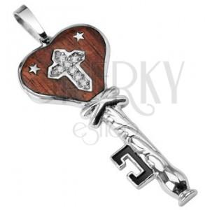 Medál nemesacélból - barna kulcs, cirkónia köves kereszt