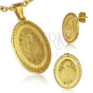 Készlet acélból - arany színű medál és fülbevaló, Szűz Mária, görög minta