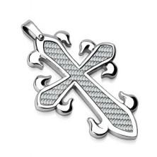 Medál minőségi acélból - díszes kereszt, fonott mintázat
