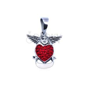 Ezüst medál - angyal piros szívvel és szalaggal