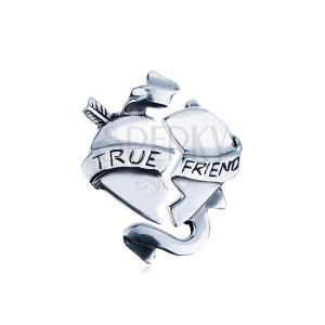 """Kettős, ezüst medál - törött szív szalaggal """"TRUE FRIEND"""""""