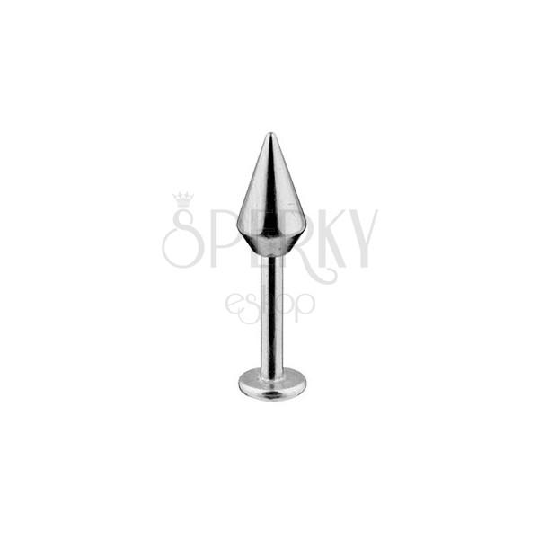 Labret - 316L acél piercing, sima felületű kúp alakú fej, 1,6 mm
